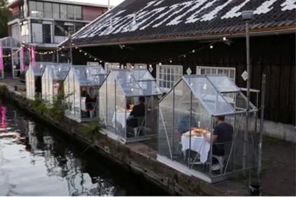 Coronavirus Holanda. Un restaurante instaló pequeños invernaderos para prevenir el contagio